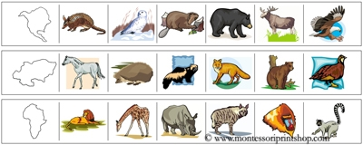 Continents and Animals Cutting Strips - printable Montessori materials