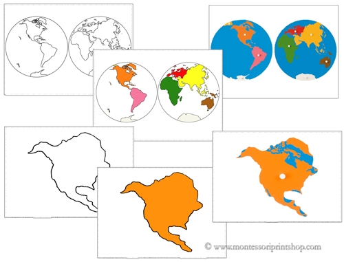 Continent Matching Cards - Printable Montessori Geography Materials