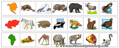 Continents & Animals Cutting Strips - Printable Montessori materials that save teachers time for Montessori Learning at home and school.