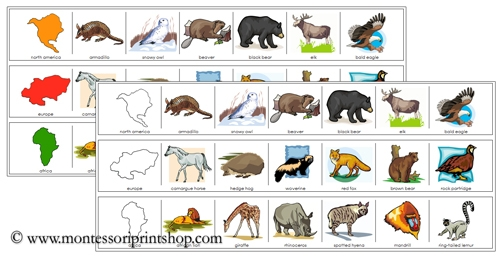 Continents and Animals Cutting Strips - printable Montessori practical life materials