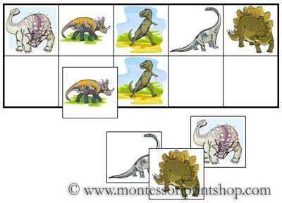 Dinosaur Match-Up and Memory Sheets for Montessori Learning at home and school.