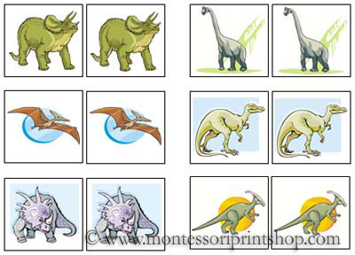 Dinosaur Match-Up Cards for Montessori Learning at home and school