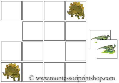 Dinosaur Memory Game for Montessori Learning at home and school