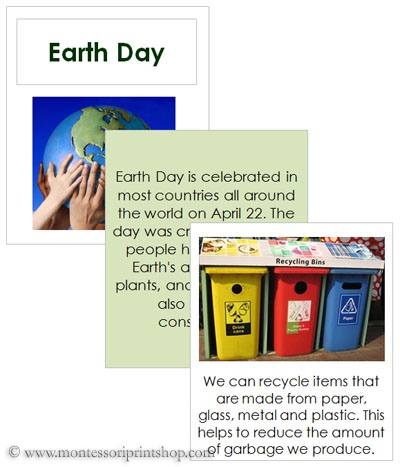 Earth Day Cards and Recycle Booklet (Photo from Montessori Print Shop