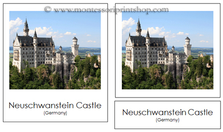 Montessori Geography Folder, Cards of European Landmarks for Montessori Learning at home and school.