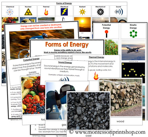 Forms of Energy - Printable Montessori Science Lesson