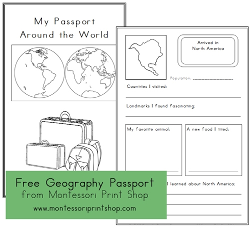 Free Geography Passport - Printable Montessori Geography Materials for Montessori Learning at home and at school