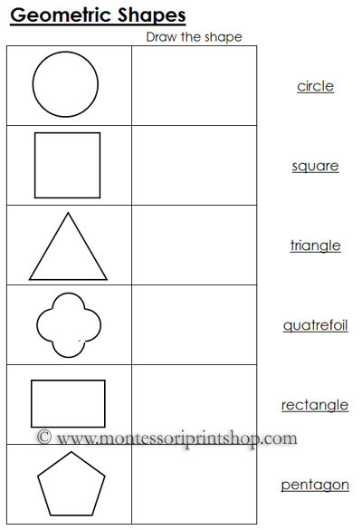 Worksheets for Geometric Shapes: Printable Montessori Math Materials