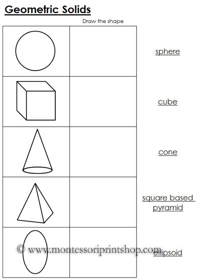 Worksheets for Geometric Solids: Printable Montessori Math Materials