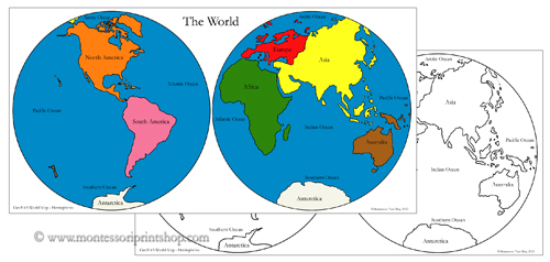Map of the world hemispheres map of the world hemispheres the world hemisphere map control maps printable montessori geography learning gumiabroncs Gallery