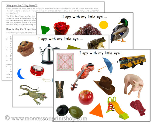 I Spy Pages - FREE Printable Montessori Materials for home and school.