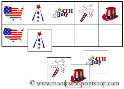 4th of July Match-Up and Memory Game (Image from Montessori Print Shop)