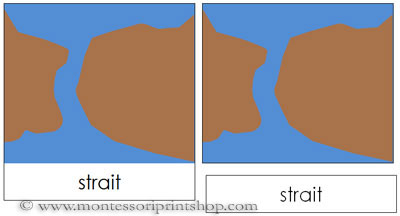 Land and Water Form Cards (b/b) - Printable Montessori Learning Materials for home and school.