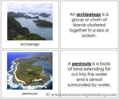 Land and Water Form Photo Book (Image from Montessori Print Shop)