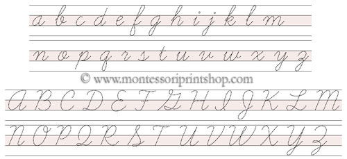 cursive letters tracing papers printable montessori language papers