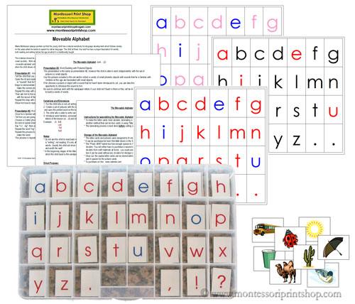 Moveable Alphabet with Letters, Pictures, and Instructions- Printable Montessori Materials for home and school.