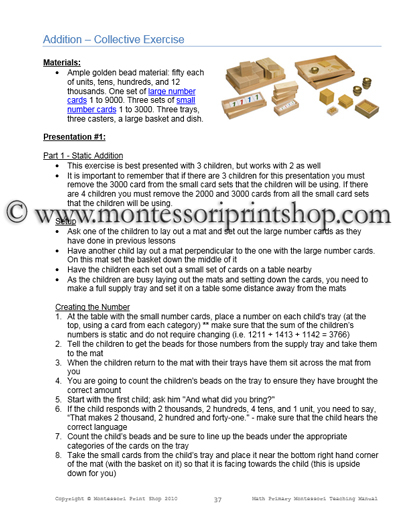 Montessori Math Teaching Manual - Printable Montessori Materials for home and school.