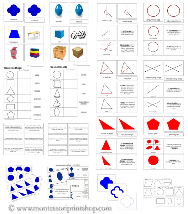 Printable Montessori Geometry Lessons and Cards for Montessori Learning at home and school.