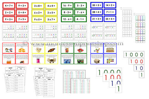 Printable Montessori Math Operations Extension Lessons for Montessori Learning at home and school.