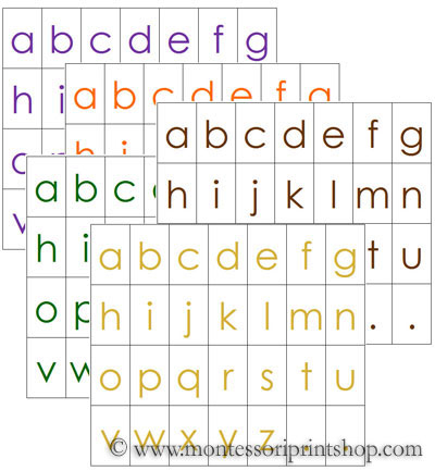 alphabet letters 5 colors set 2 printable montessori materials for home and school