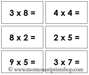 Mathematical Operations for printable Montessori Math materials by MPS