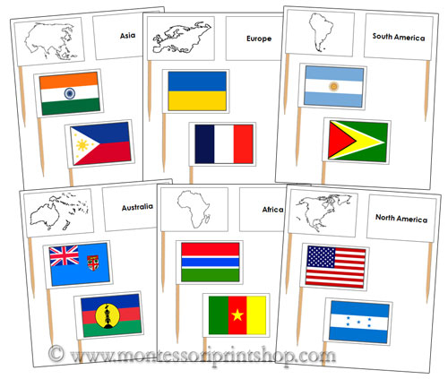 Pin Map Flags Bundle - Printable Montessori Geography Materials