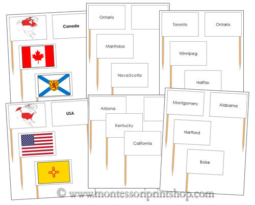 Pin Map Flags Bundle (No color-coding) - Printable Montessori Geography Downloads