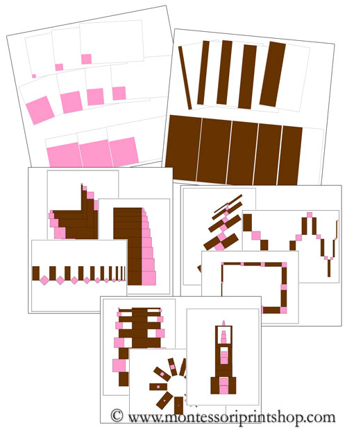 Montessori Pink Tower and Broad Stair Cards Bundle - Printable Constructive Triangles