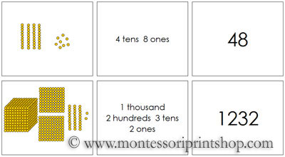Golden Bead Place Value Cards - Printable Montessori Materials for home and school.