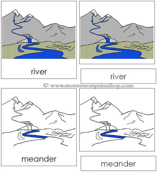 River Nomenclature Cards - Printable Montessori materials for Montessori Learning at home and school.