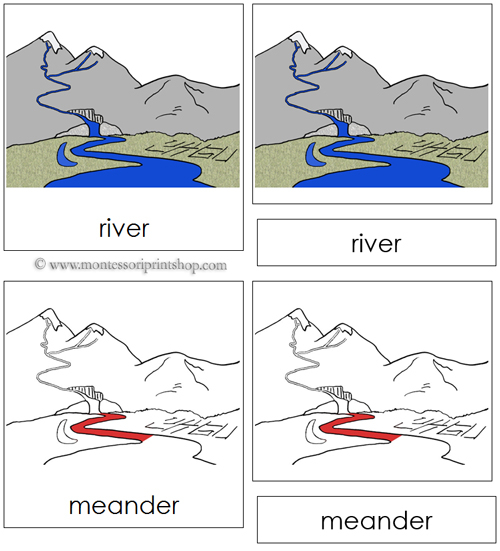 River Nomenclature Cards (Red) - Printable Montessori materials for Montessori Learning at home and school.