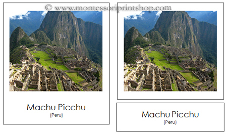 Montessori Geography Folder, Cards of South American Landmarks for Montessori Learning at home and school.