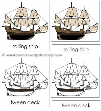 Sailing Ship Nomenclature Cards for Montessori Learning at home and school.