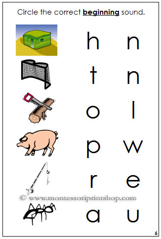 Step 1 Initial Sound Choice Cards - Montessori Step 1 Phonetic Language Series for Montessori Learning at home and school.