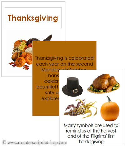 Thanksgiving Cards and Booklet (Image from Montessori Print Shop)