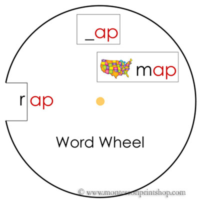 Phonetic Word Wheels Set 1 - Printable Montessori Language Cards for Montessori Learning at home and at school.