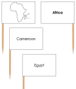 Africa - pin flags - Printable Montessori geography materials by Montessori Print Shop.