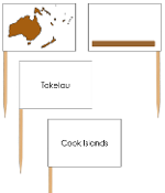 Oceania - pin flags (color-coded) - Printable Montessori geography materials by Montessori Print Shop.