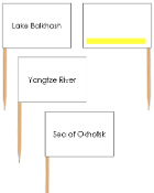 Asian waterway labels - pin flags (color-coded) - Printable Montessori geography materials by Montessori Print Shop.