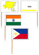 Asian Flags: pin flags (color-coded) - Printable Montessori Geography Materials by Montessori Print Shop.