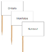 Canadian Provinces & Territories pin flags - Printable Montessori geography materials by Montessori Print Shop.