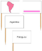 South America - pin flags (color-coded) - Printable Montessori geography materials by Montessori Print Shop.