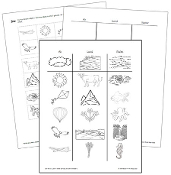 Air, Land and Water Sorting Blackline Masters - Printable Montessori preschool materials by Montessori Print Shop.