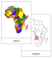 Africa Flashcards (color-coded) - Printable Montessori geography materials by Montessori Print Shop.