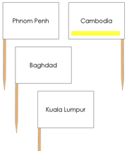 Asian Capital Cities - pin flags (color-coded) - Printable Montessori geography materials by Montessori Print Shop.