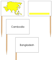 Asia - pin flags (color-coded) - Printable Montessori geography materials by Montessori Print Shop.