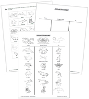 Animal Movement Blackline Masters - Printable Montessori Zoology Materials by Montessori Print Shop.