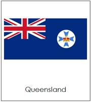 Australia State & Territory Flags (no color borders) - Printable Montessori Geography materials by Montessori Print Shop.