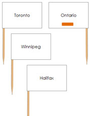 Canadian Capital Cities - pin flags (color-coded) - Printable Montessori geography materials by Montessori Print Shop.