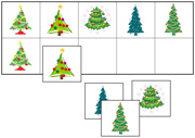 Christmas Tree Match-Up & Memory Game - Printable Montessori preschool materials by Montessori Print Shop.